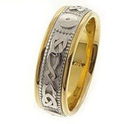 Celtic Knot Wedding Band - 14K Gold Center White Infinity Two Tone Ring