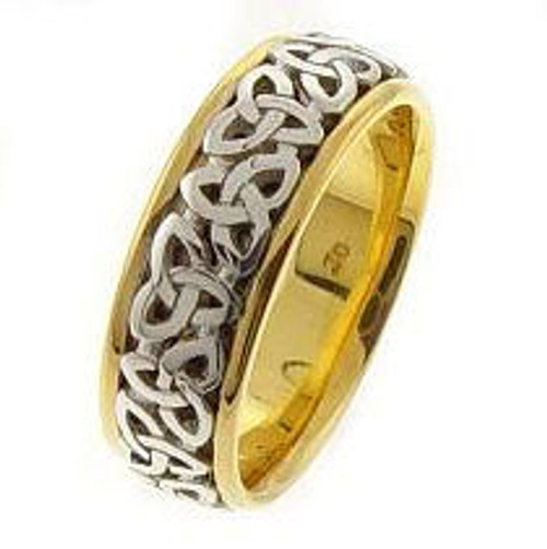 Celtic Knot Wedding Band - 14K Gold Two Tone Trinity Ring with White Center