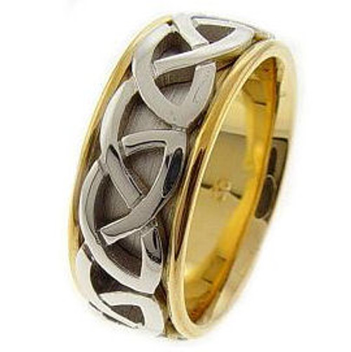 Celtic Knot Wedding Band - 14K Gold White Center Weave Two Tone Ring