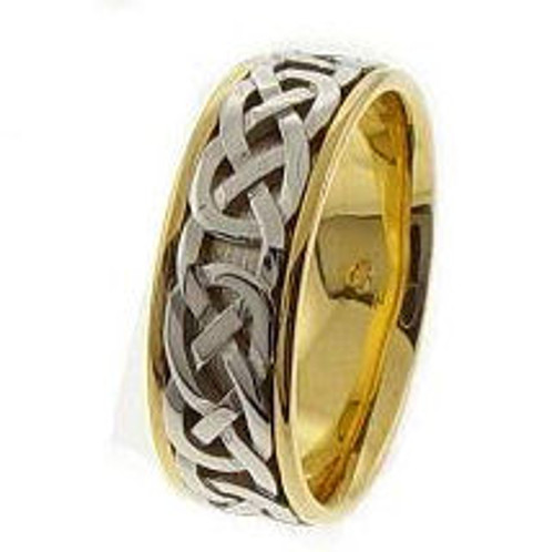 Celtic Knot Wedding Band - 14K Gold Deep Purity Two Tone Ring