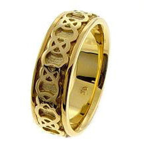 Celtic Knot Wedding Band - 14K Yellow Gold Endless Love Ring