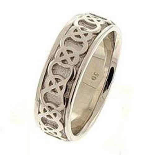 Celtic Knot Wedding Band - 14K White Gold Endless Love Ring