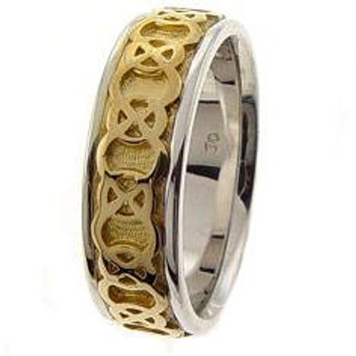 Celtic Knot Wedding Band - 14K Yellow Gold Endless Two Tone Ring