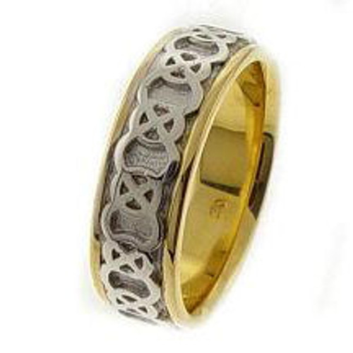 Celtic Knot Wedding Band - 14K Gold Endless White Two Tone Ring