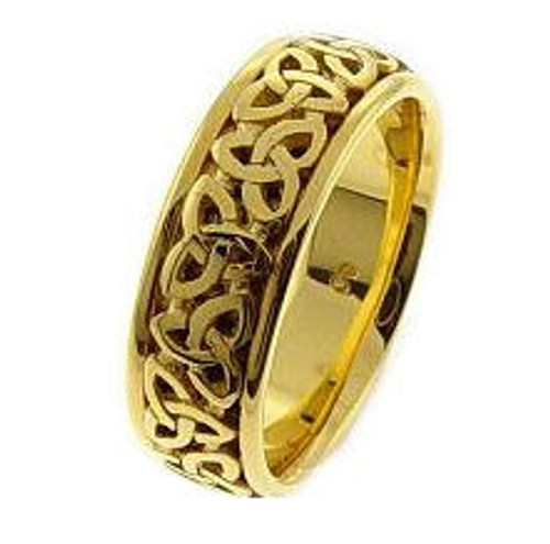 Celtic Knot Wedding Band - 14K Gold Trinity Ring