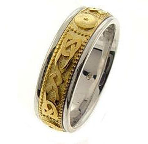 Celtic Knot Wedding Band - 14K Gold Center Yellow Infinity Two Tone Ring