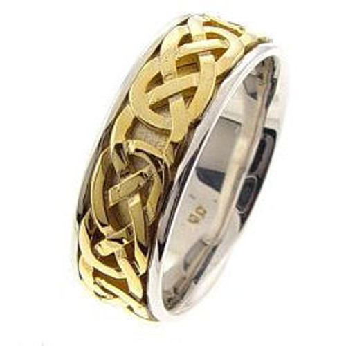 Celtic Knot Wedding Band - 14K Gold Two Tone Purity Ring