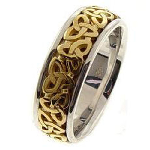 Celtic Knot Wedding Band - 14K Gold Two Tone Trinity Ring with Yellow Center
