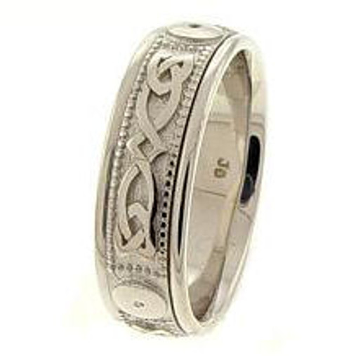 Celtic Knot Wedding Band - 14K White Gold Infinity Ring