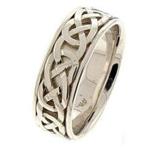 Celtic Knot Wedding Band - 14K White Gold Purity Ring