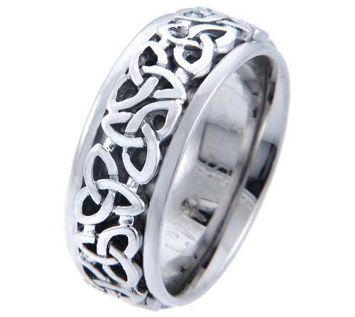 Celtic Knot Wedding Band - 14K White Gold Trinity Ring