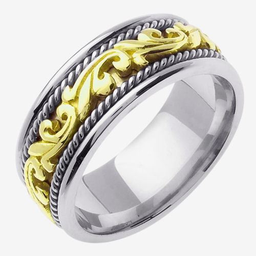 Celtic Knot Wedding Band - White and Gold Two Tone