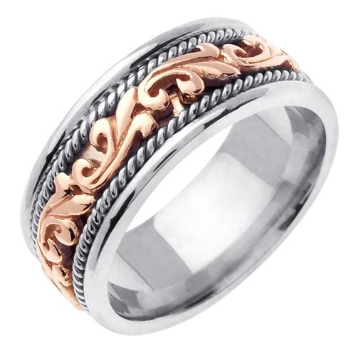 Celtic Wedding Band - 14K Rose Gold Braided Two Tone Ring