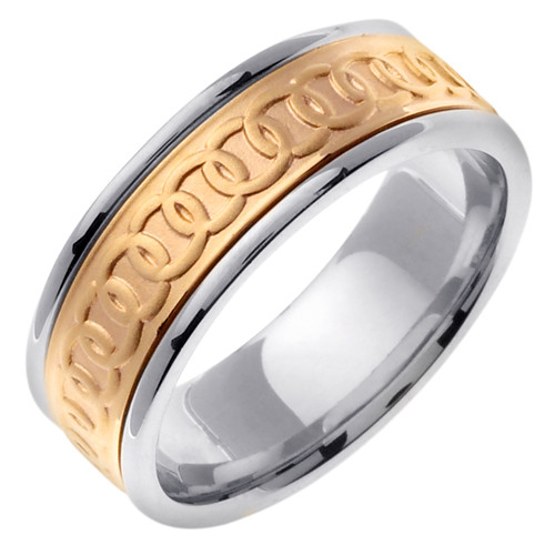 Celtic Wedding Band - 14K Gold Chain of Rounds Two Tone Ring