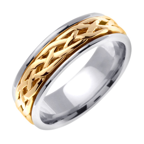 Celtic Wedding Band - 14K Yellow Gold Center Gaelic Weave Two Tone Ring