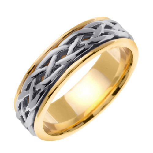 Celtic Wedding Band - 14K White Gold Center Gaelic Weave Two Tone Ring