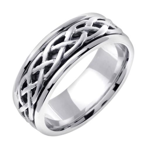 Celtic Wedding Band - 14K White Gold Gaelic Weave Ring