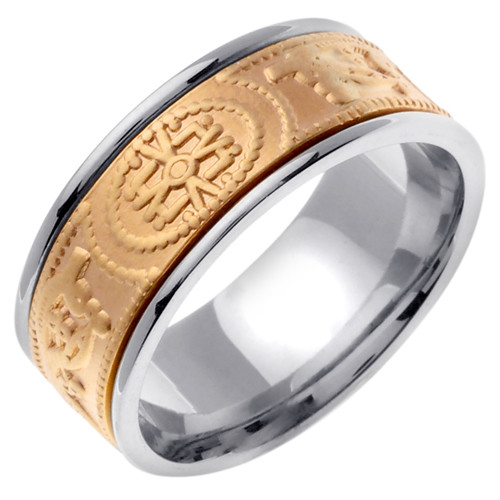 Celtic Wedding Band - 14K Gold Mystic Two Tone Ring