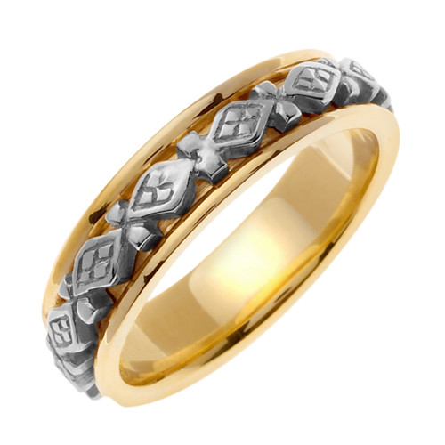 Celtic Wedding Band - 14K White Gold Perpetual Two Tone Ring