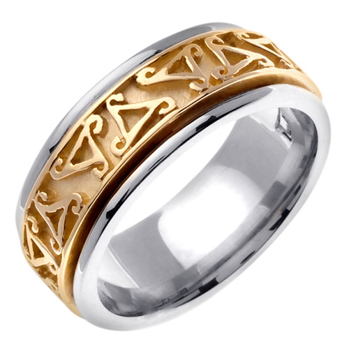 Celtic Wedding Band - 14K Gold Symbolism Two Tone Ring