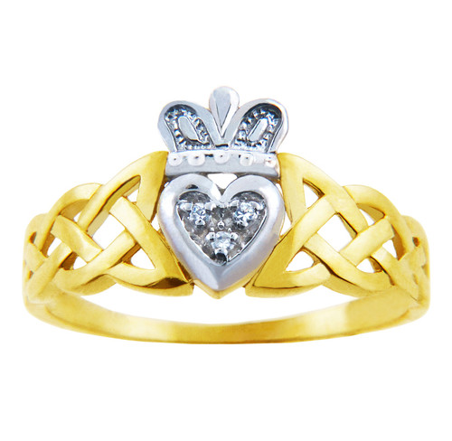 Gold Claddagh Rings - The Variation Two-Tone Gold Claddagh Ring with Diamonds and Trinity Band