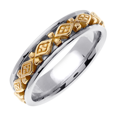 Celtic Wedding Band - 14K Gold Perpetual Two Tone Ring