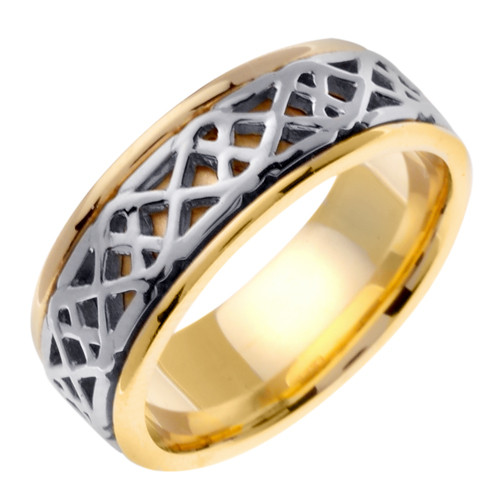 Celtic Wedding Band - 14K Gold Saighead Two Tone Ring
