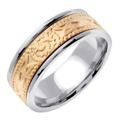 Celtic Wedding Band - 14K Yellow Gold Triskele Two Tone Ring