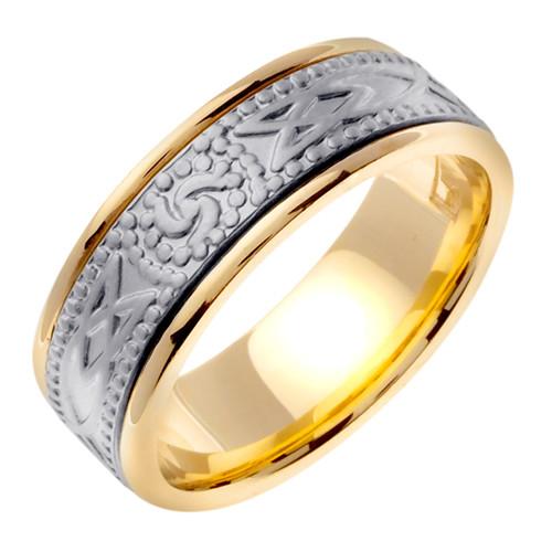 Celtic Wedding Band - 14K White Gold Triskele Two Tone Ring