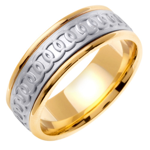 Celtic Wedding Band - 14K White Gold Chain of Rounds Two Tone Ring