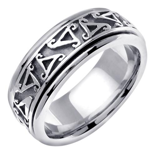 Celtic Wedding Band - 14K White Gold Irish Ring