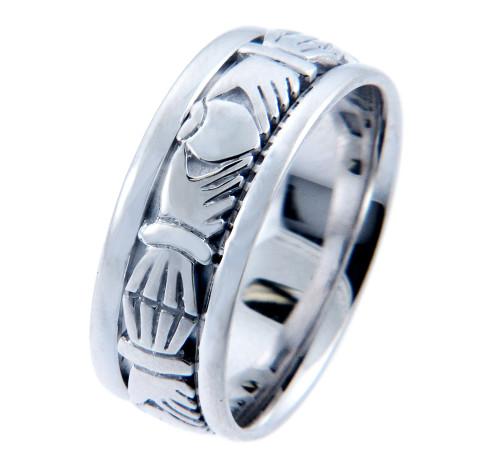 Claddagh Wedding Band - 14K White Gold