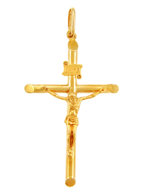 Gold Tubular Cross Charm Catholic Crucifix Pendant