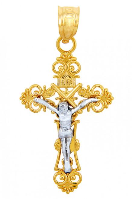Two Tone Gold Crucifix Pendant - The Radiance Crucifix