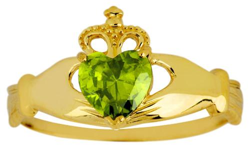 Gold Birthstone Claddagh Ring CZ Peridot Gemstone