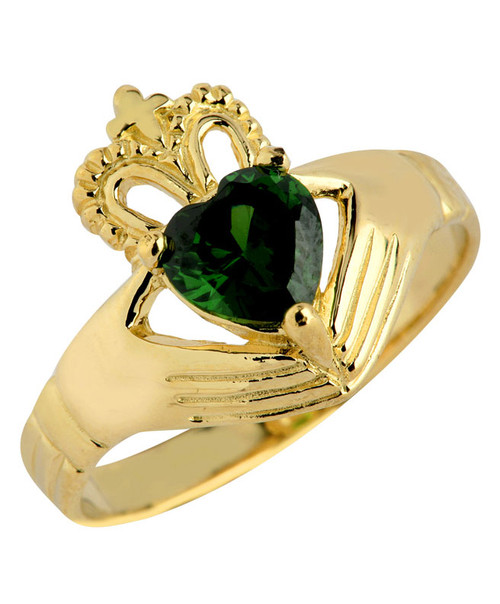 Gold Claddagh Ladies Ring with Green Emerald CZ Stone