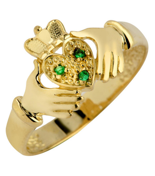 Gold Claddagh Ladies Ring with Three CZ Emeralds