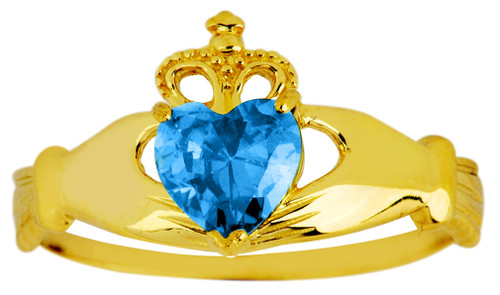 Gold Birthstone Claddagh Ring with Blue Topaz CZ Gemstone