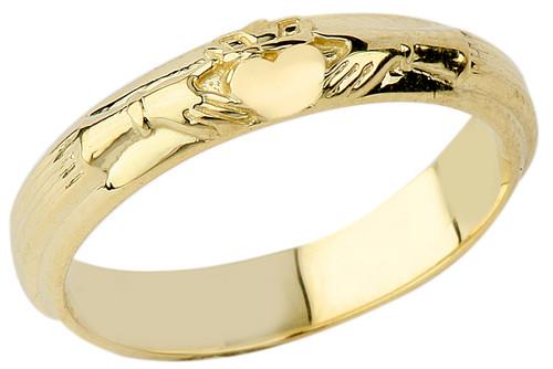 Gold Claddagh Wedding Band