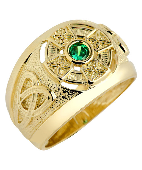Yellow Gold Celtic Cross Mens Ring with Emerald CZ