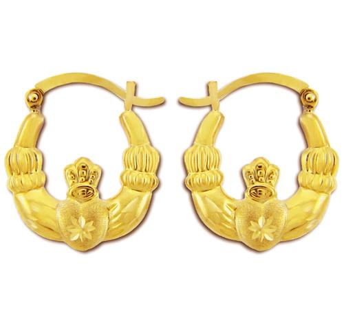 Polished And Satin Claddagh Hoop Earrings