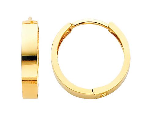 Bold Polished Yellow Gold Huggies Earrings