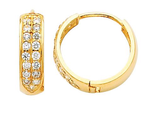 Bold Large CZ Yellow Gold Huggie Earrings