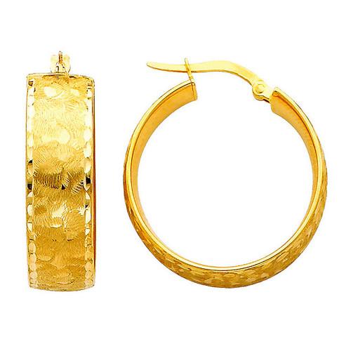 Bold Yellow Gold Fancy Hoop Earring