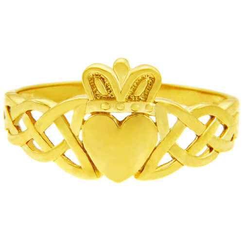 The Variation Yellow Gold Men's Claddagh Ring with Trinity Band