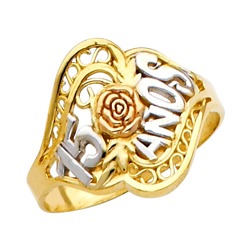 """""""15-Anos""""  Yellow Gold Tri-Color Ring"""