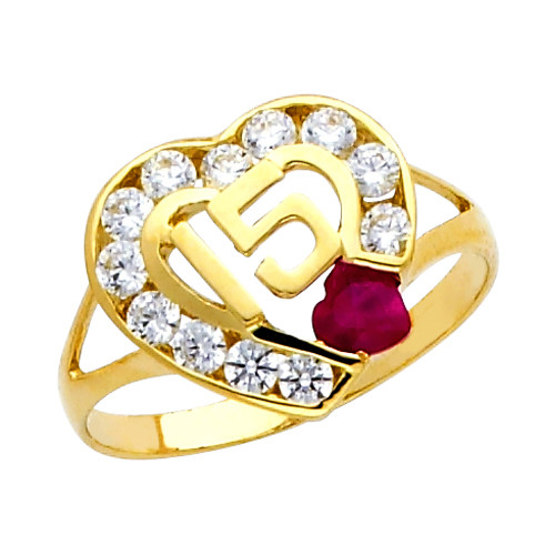 """""""15 Anos"""" CZ  Ruby Yellow Gold Ring"""
