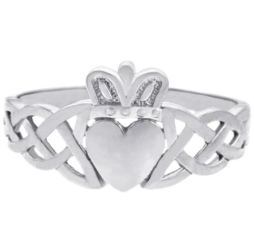 The White Gold Men's Claddagh Ring with Trinity Band from CladdaghGold.com - image