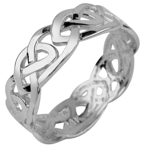 White Gold Trinity Knot Celtic Ring from CladdaghGold.com - image