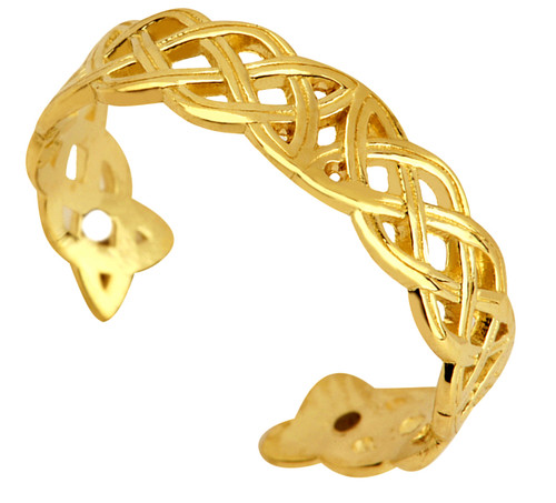 Classic Trinity Weave Gold Toe Ring